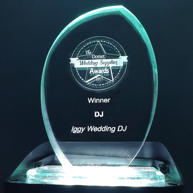 Iggy Wedding DJ awards - Dorset Wedding Suppliers Awards 2017 awards photo of trophy