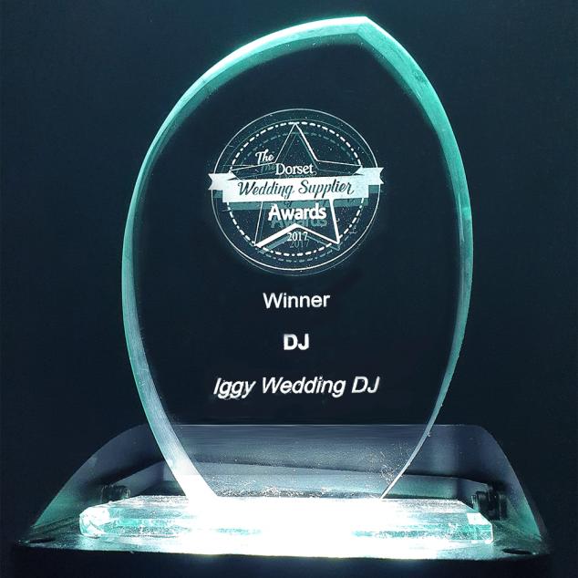 Iggy Wedding DJ awards - Dorset Wedding Suppliers Awards 2017 awards photo of trophy