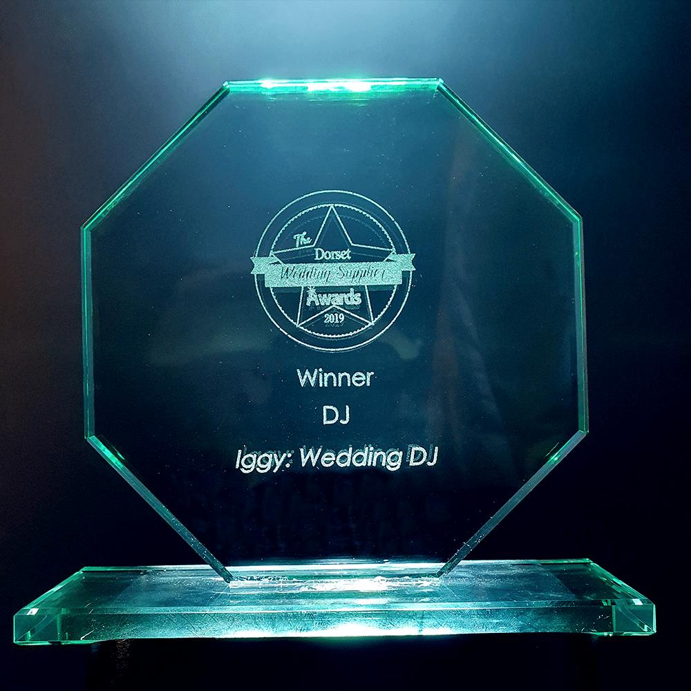 Iggy Wedding DJ awards - Dorset Wedding Suppliers Awards 2019 awards photo of trophy